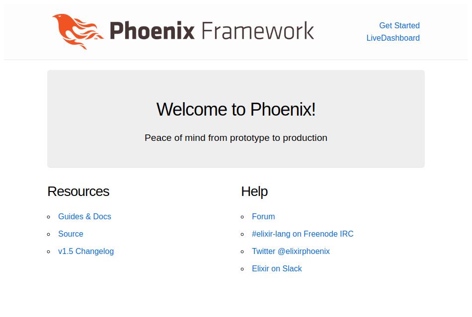 Écran d'accueil d'une application Phoenix vierge