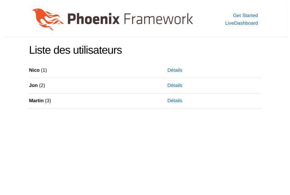 capture d'écran de la liste des utilisateurs de notre application